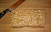 uncooked block of tempeh