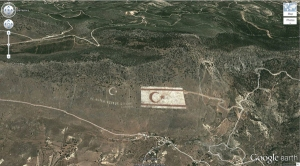 the Turkish flag proudly imprinted on a hill in Northern Cyprus (googleearth)