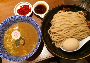 Turn and face the change, tsukemen. Look at the thick on them noodles!